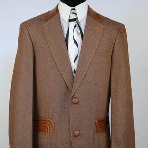 Other - 8308 Men's Jeans 2pc Suit W/Faux leather Accents